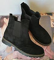 Женские черные ботинки в стиле Timberland натуральный замш весна осень 2019