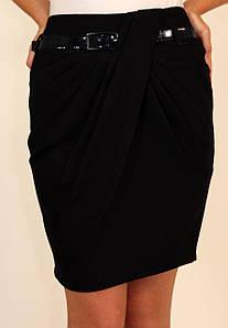Стильная юбка с драпировкой ( черный, сиий ) 42-48 р