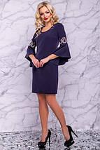 Платье до колен с круглым вырезом рукав три четверти с воланами цвет темно-синий, фото 2