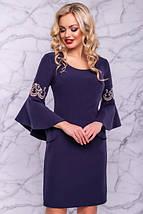 Платье до колен с круглым вырезом рукав три четверти с воланами цвет темно-синий, фото 3