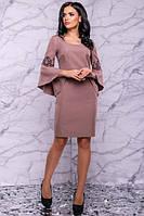 Нарядное платье футляр с вышивкой длина миди цвет кофе с молоком