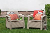 Keter Corfu Duo Set садовая мебель из искусственного ротанга, фото 1