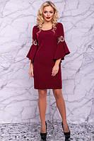 Корпоративное платье карандаш с вышивкой на рукавах длина до колен цвет марсала