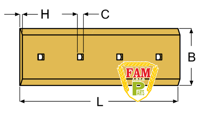 Нож ковша (режущая кромка) 1060х280х25 мм Caterpillar 1104782