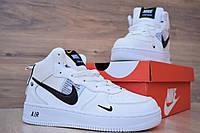 Кроссовки Nike Air Force 1 Mid LV8 мужские зимние, белые, в стиле Найк Аир Форс, кожа, мех, код OD-3328
