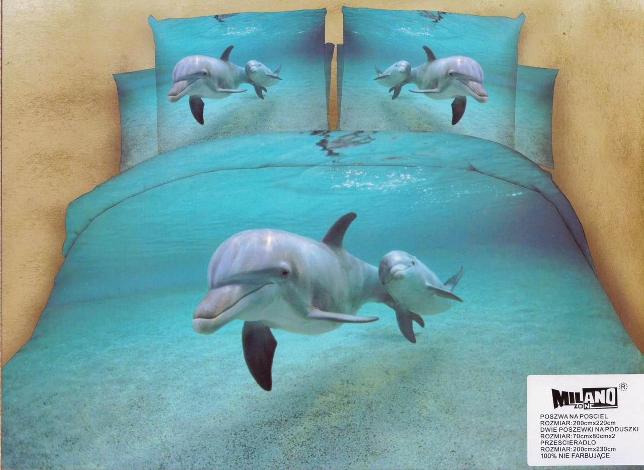 3D Постельное белье Польша ТМ Милано  рисунок дельфин (Milano Zone) євро (двухспалка)