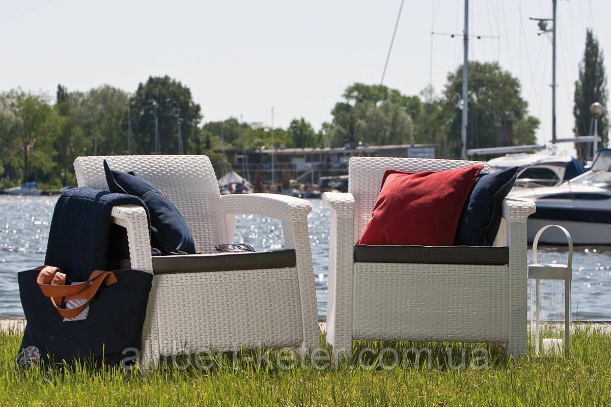 Curver Corfu Duo Set садовая мебель из искусственного ротанга