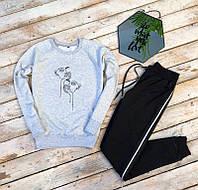Женский спортивный трикотажный костюм Маски серый свитшот черные штаны, фото 1