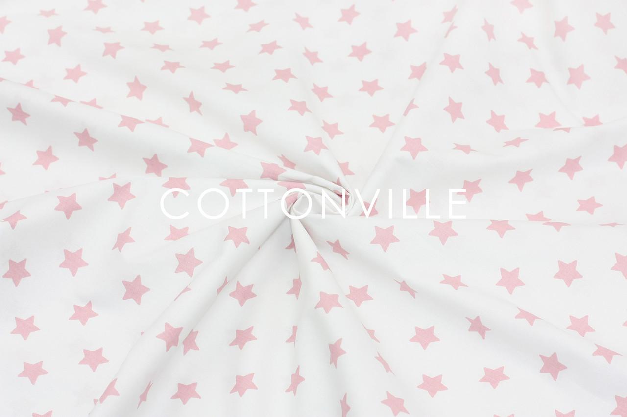 Ранфорс  240 см Мелкие звездочки розовые на белом