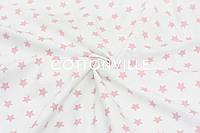 Ранфорс  240 см Мелкие звездочки розовые на белом, фото 1