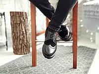 Мужские туфли броги черные комбинированые