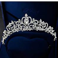 Элегантная серебряная большая корона тиара с белыми камнями горный хрусталь для свадебных причесок и торжеств