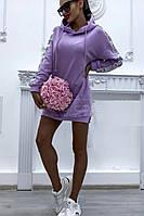 Платье спортивное туника (цвет - сирень, ткань - двунитка) Размер S, M, L (розница и опт)
