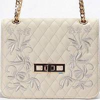 Женская сумка - клатч Gilda Tohetti  бежевый стеганный с вышивкой