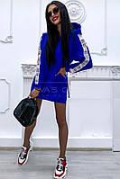 Спортивное платье-туника (цвет - синий, ткань - двунитка) Размер S, M, L (розница и опт)