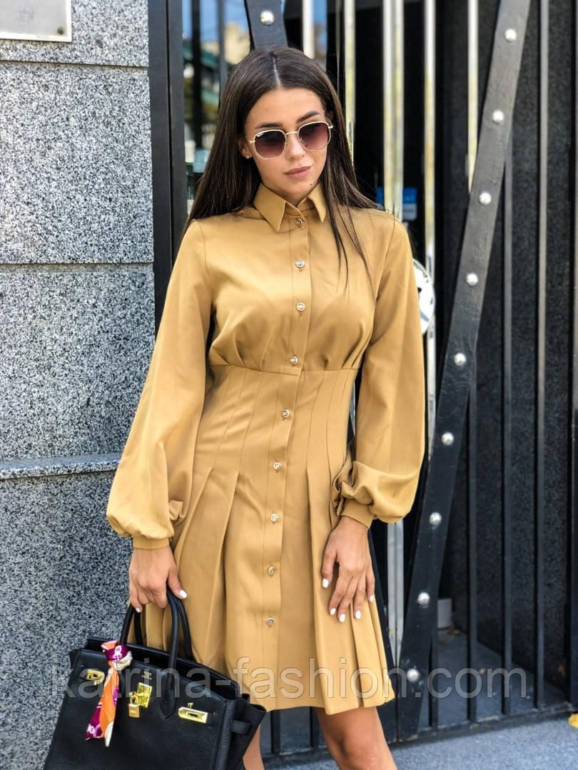 Женское платье-рубашка плиссировка (в расцветках)
