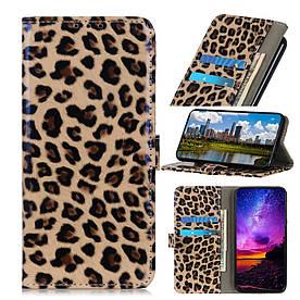 Чехол книжка для Samsung Galaxy A20s боковой с отсеком для визиток, Леопард