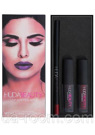 Набор Huda Beauty Lip Contour Set 2 помады + карандаш, фото 2