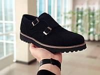 Мужские туфли броги замшевые черные Monki