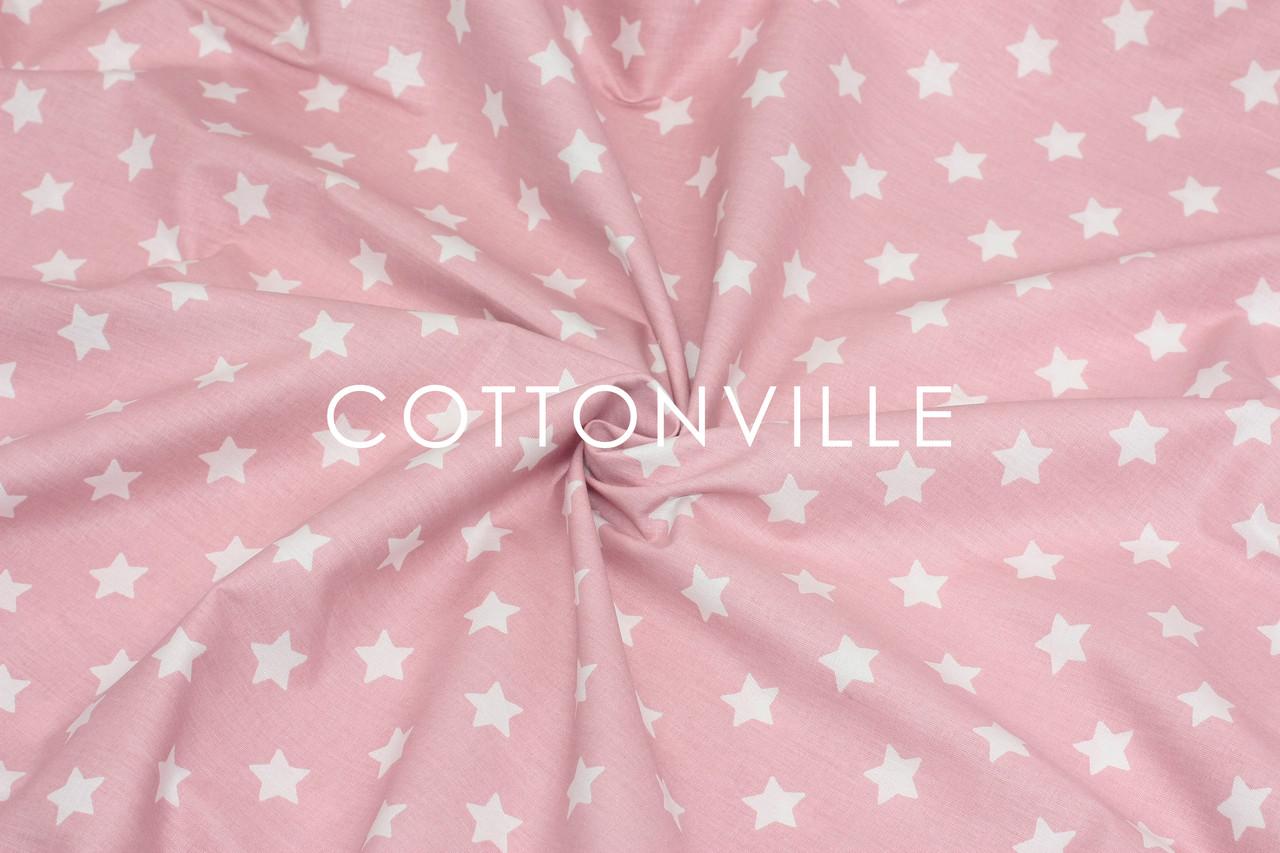 Ранфорс  240 см Мелкие звездочки белые на пудрово-розовом