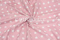 Ранфорс  240 см Мелкие звездочки белые на пудрово-розовом, фото 1
