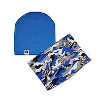 Комплект шапка трикотажная двойная и шарф-снуд флисовый Микки Маус