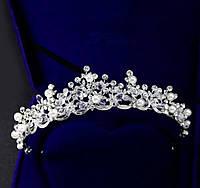 Модная серебряная большая корона тиара с белыми камнями горный хрусталь белыми жемчужинами для праздника