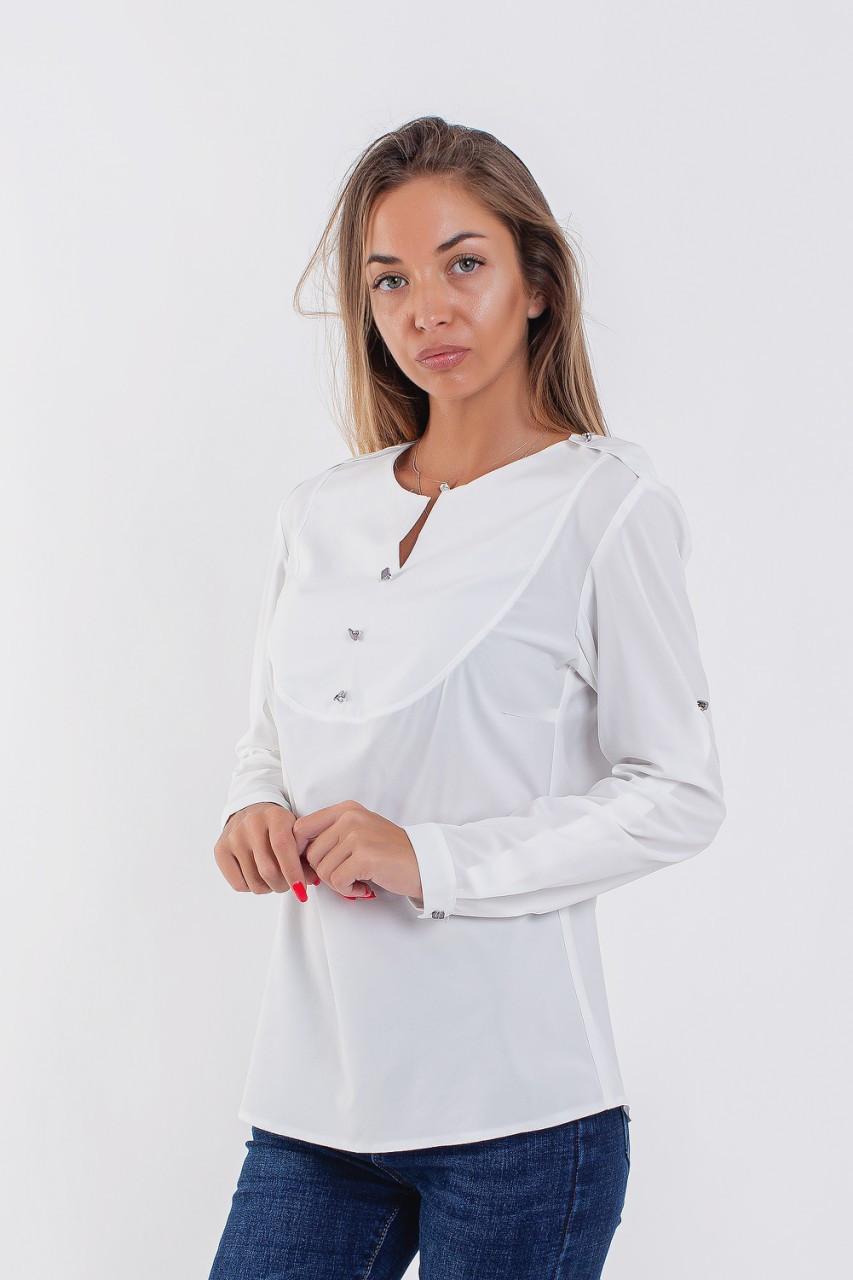Женская строгая рубашка с манишкой 42-48 (в расцветках)
