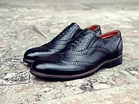 Мужские туфли броги черные кожаные Сhak