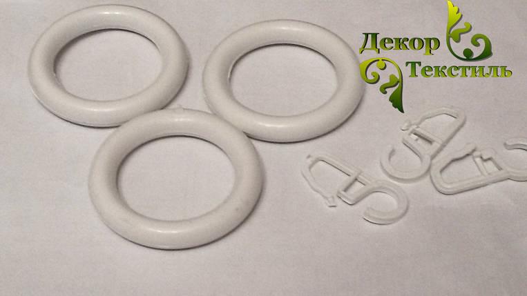 Кольцо + крючек Белый (пластик) 20шт., фото 2