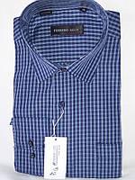 Рубашка мужская Ferrero Gizzi vd-0026 синяя в клетку классическая с длинным рукавом