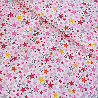 Муслин с мелкими красными, розовыми, желтыми звездами на белом, ширина 90 см