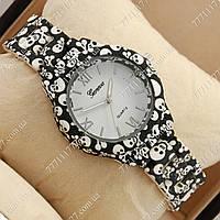 Часы наручные женские Geneva Platinum Black-skull/White