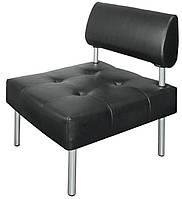 Кресло офисное без подлокотников D-02 Экокожа D-05 чёрный.