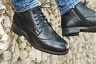 Мужские туфли броги высокие черные кожаные