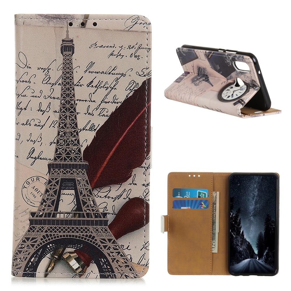 Чехол книжка для Samsung Galaxy A10s A107FD боковой с отсеком для визиток, Эйфелева башня и часы