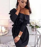 Платье с рюшей (цвет - черный, ткань - костюмка Барби ) Размер S, M, L (розница и опт)