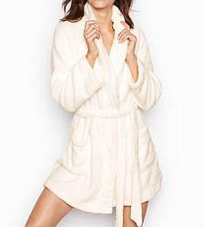 💋 Плюшевый Халат Victoria's Secret Cozy Plush M/L, Айвори
