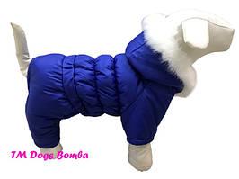 Зимний комбинезон для собак синий с опушкой