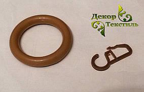 Кольцо + крючек Орех (пластик) 20шт.