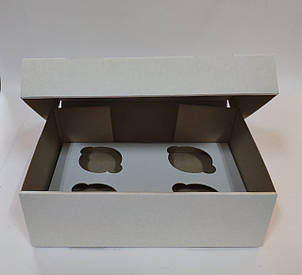 """Картонная коробка """"Белая на 4 капкейка"""" (усил) 5 шт"""