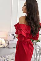 Платье короткое с рюшей (цвет - красный, ткань - костюмка Барби ) Размер S, M, L (розница и опт)