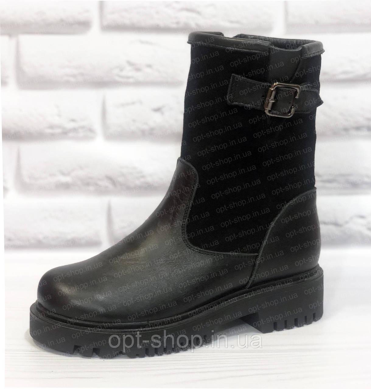 Женские зимние сапоги кожаные на низком ходу, сапоги ботинки женские зимние кожаные от производителя