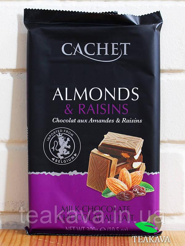 Шоколад Cachet молочний з мигдалем і родзинками 32%, 300 г