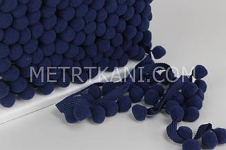 Тесьма с помпонами темно-синего  цвета  d 20 мм