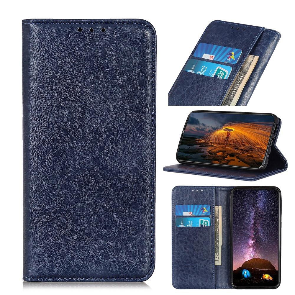 Чехол книжка для Samsung Galaxy A10s A107FD боковой со встроенной магнитной застежкой, Гладкая кожа, синий