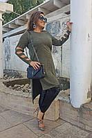 Оригинальная женская удлиненная туника ангора больших размеров до 64 размера хаки
