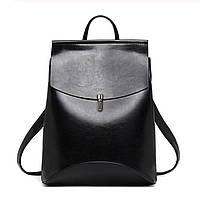 Рюкзак-сумка (трансформер) женский с клапаном и застежкой (черный)