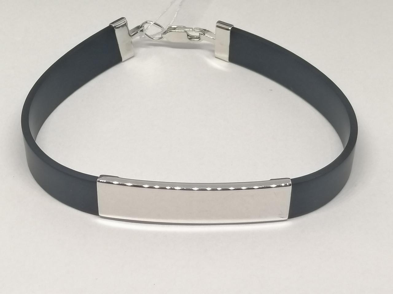 Срібний браслет з каучуком. Артикул 910057С 20