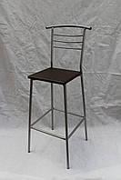 Барный стул высокий хром + венге